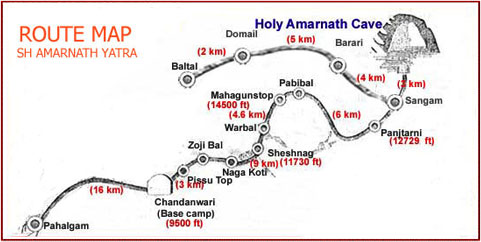 Route and Map For Amarnath Yatra 2017